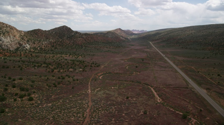 6K stock footage aerial video of Highway 89 through desert landscape, Glen Canyon National Recreation Area, Utah, Arizona Aerial Stock Footage | AX131_084