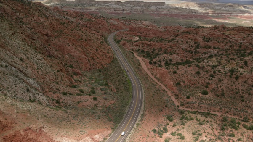 Flying by Highway 89, Glen Canyon National Recreation Area, Utah, Arizona Aerial Stock Footage | AX131_091