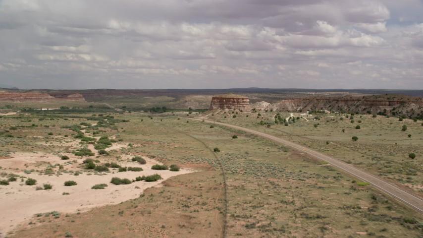 Flying along Highway 89, Glen Canyon National Recreation Area, Utah, Arizona Aerial Stock Footage | AX131_097