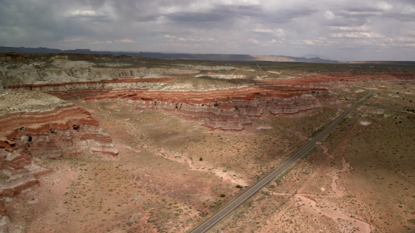 6K stock footage aerial video flyby buttes by Highway 89, Glen Canyon National Recreation Area, Utah, Arizona Aerial Stock Footage | AX131_099