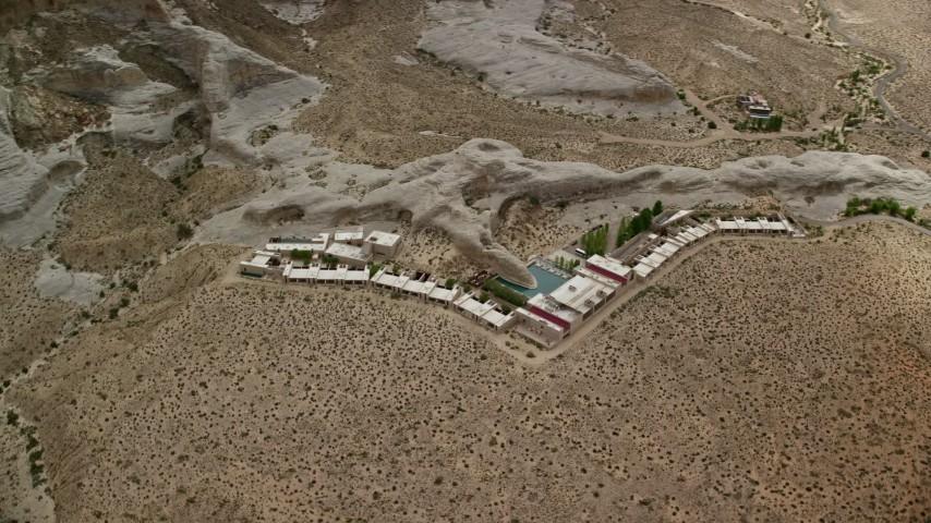 6K stock footage aerial video flyby the Amangiri Resort, Glen Canyon National Recreation Area, Utah, Arizona Aerial Stock Footage | AX131_124