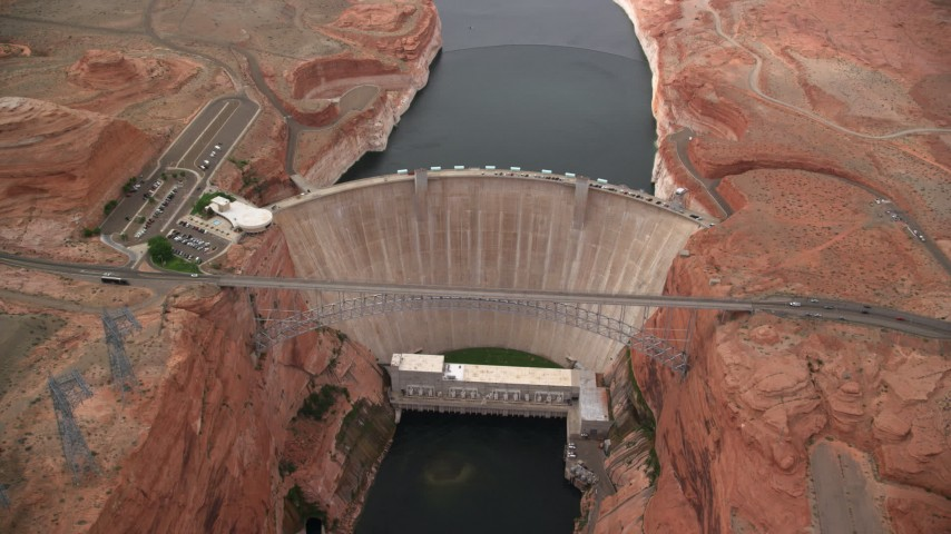 6K stock footage aerial video orbiting around the Glen Canyon Dam and Bridge, Arizona Aerial Stock Footage | AX131_139