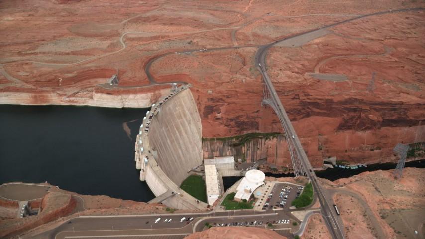 Orbiting the Glen Canyon Dam and Bridge, Arizona Aerial Stock Footage | AX131_141