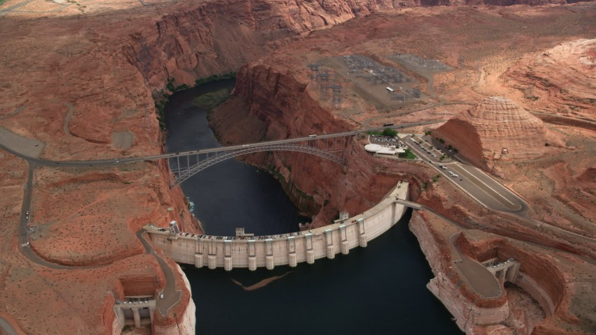6K stock footage aerial video circle around the Glen Canyon Dam and Bridge, Arizona Aerial Stock Footage | AX131_142