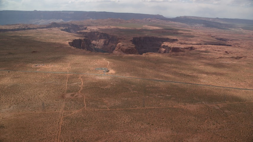 6K stock footage aerial video of approaching Horseshoe Bend and Colorado River, Glen Canyon, Arizona Aerial Stock Footage | AX131_163