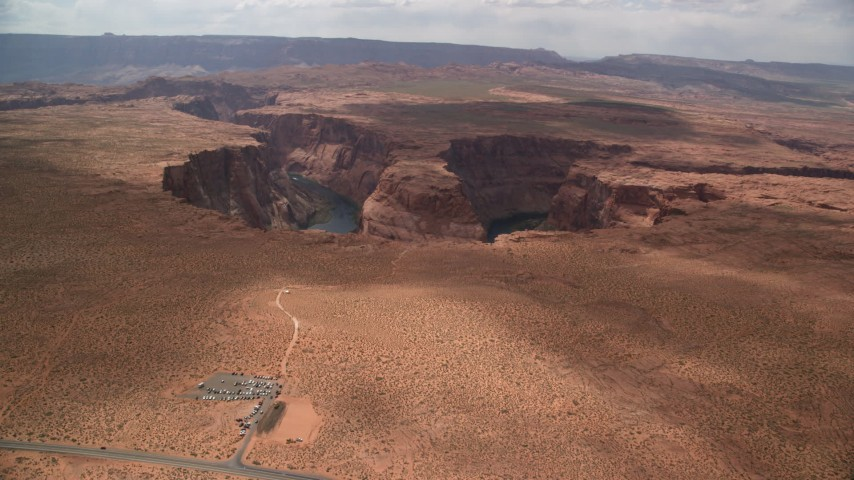 6K stock footage aerial video of approaching Horseshoe Bend and the Colorado River, Glen Canyon, Arizona Aerial Stock Footage | AX131_164