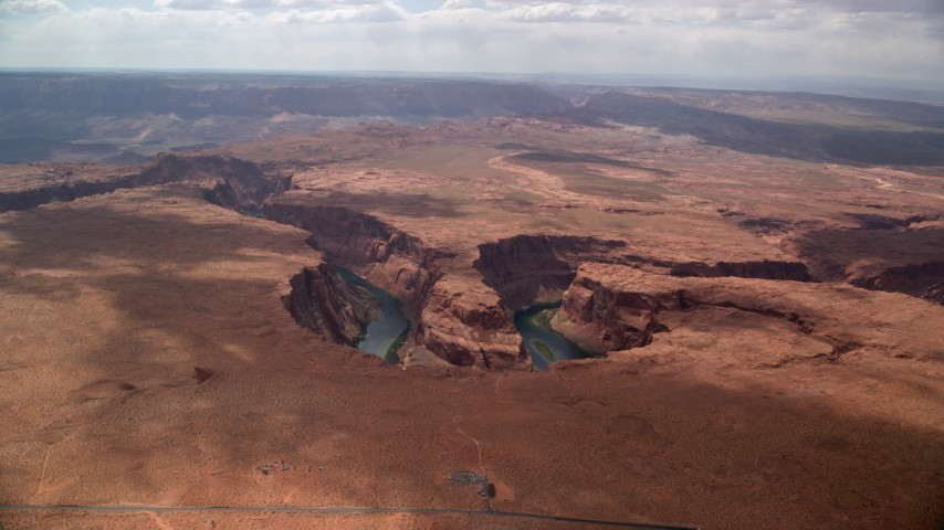 6K stock footage aerial video of a wide view of Horseshoe Bend and the Colorado River, Glen Canyon, Arizona Aerial Stock Footage | AX131_171