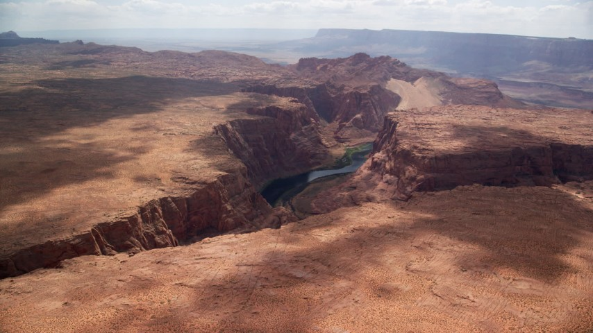 6K stock footage aerial video of flying by the Colorado River and Glen Canyon, Arizona Aerial Stock Footage   AX131_183