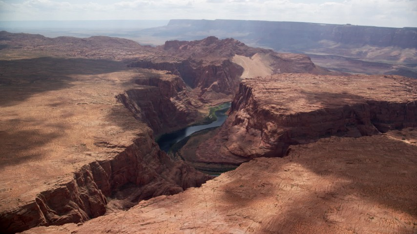 6K stock footage aerial video of approaching the Colorado River in Glen Canyon, Arizona Aerial Stock Footage | AX131_184