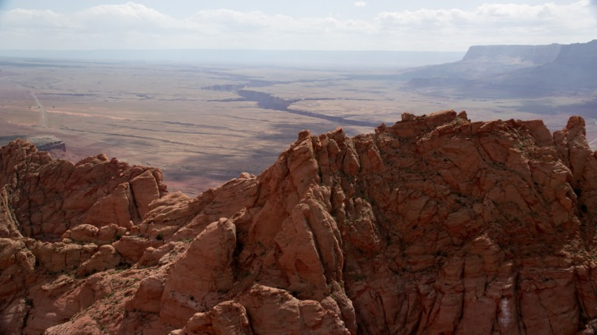 Mtn Peak, Marble Canyon, Glen Canyon National Recreation Area, Utah, Arizona Aerial Stock Footage | AX131_194