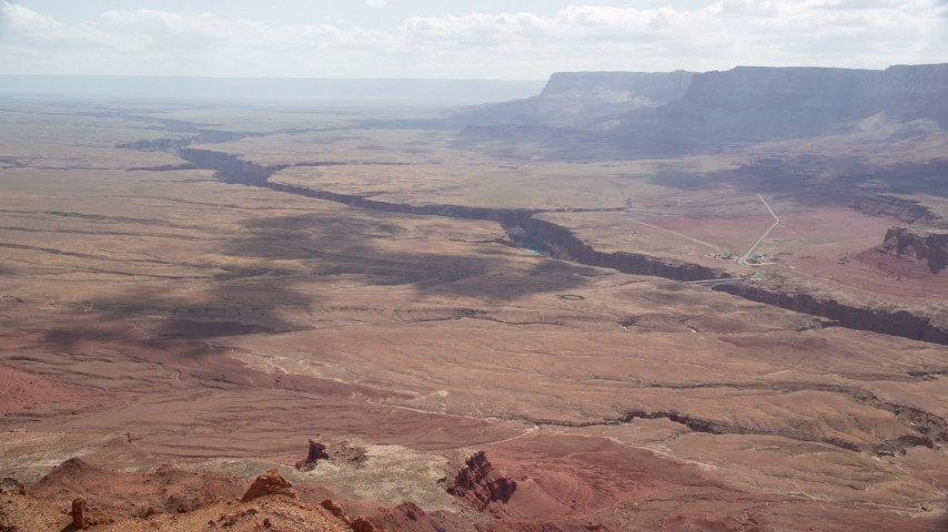 Flying by Marble Canyon, Glen Canyon National Recreation Area, Utah, Arizona Aerial Stock Footage | AX131_195
