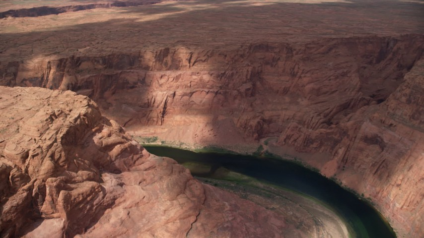 6K stock footage aerial video of panning across Colorado River and Glen Canyon, Arizona Aerial Stock Footage | AX131_200