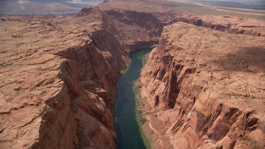 6K stock footage aerial video of following the calm water of the Colorado River, Glen Canyon, Arizona Aerial Stock Footage | AX131_202