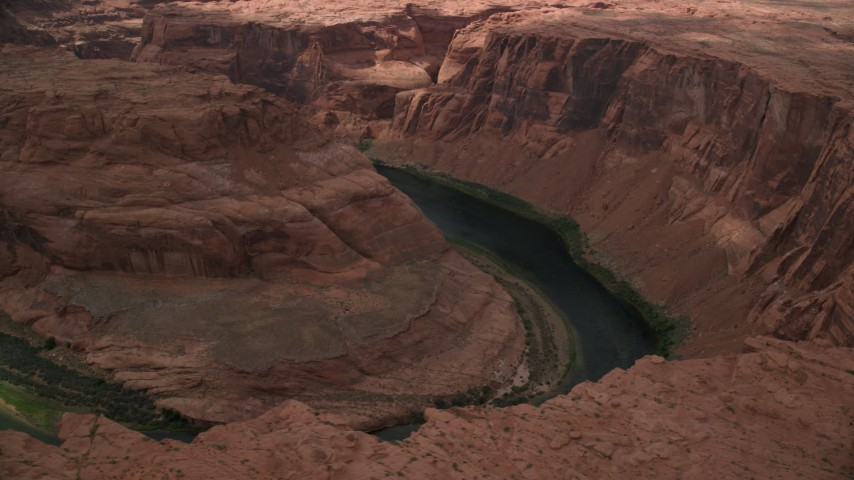 6K stock footage aerial video of an orbit of Horseshoe Bend. and the Colorado River, Glen Canyon, Arizona Aerial Stock Footage | AX131_214