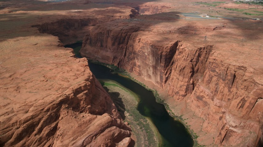 6K stock footage aerial video of a view of the Colorado River through Glen Canyon, Arizona Aerial Stock Footage | AX131_219