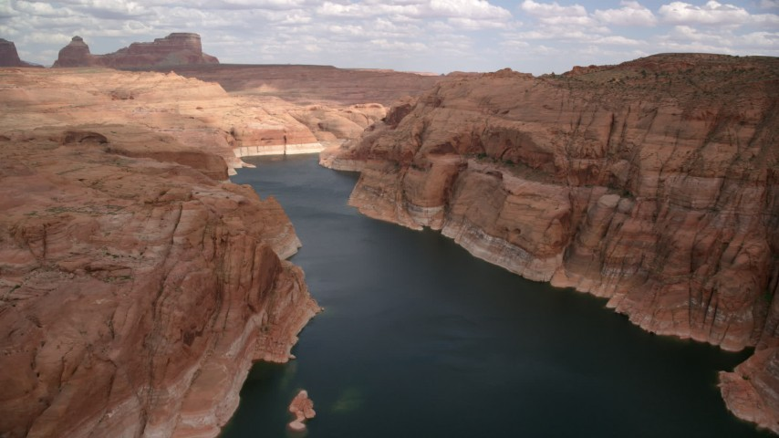 6K stock footage aerial video of flying over Lake Powell in Navajo Canyon, Arizona Aerial Stock Footage | AX131_233