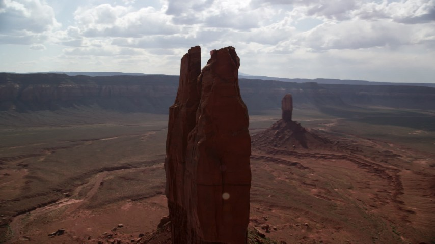 Orbiting the top of a butte, Navajo Nation Reservation, Arizona, Utah Aerial Stock Footage | AX132_116