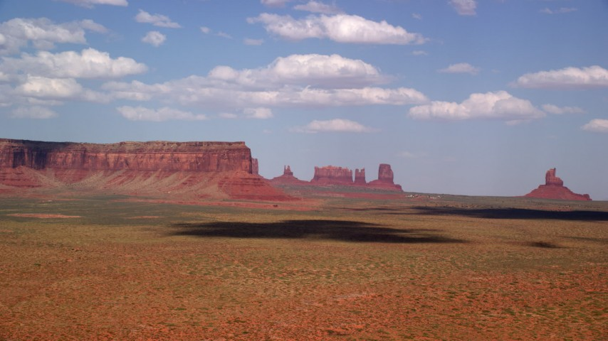 6K stock footage aerial video of a wide view of Eagle Mesa and buttes, Monument Valley, Arizona, Utah Aerial Stock Footage | AX132_131