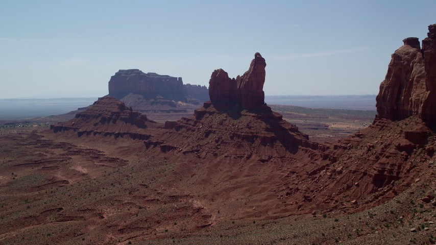 6K stock footage aerial video approach Setting Hen Butte in Monument Valley, Utah, Arizona Aerial Stock Footage | AX135_059