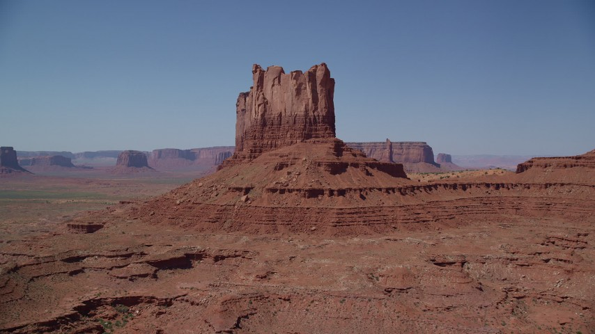 6K stock footage aerial video approach and flyby Stagecoach Butte in Monument Valley, Utah, Arizona Aerial Stock Footage | AX135_109