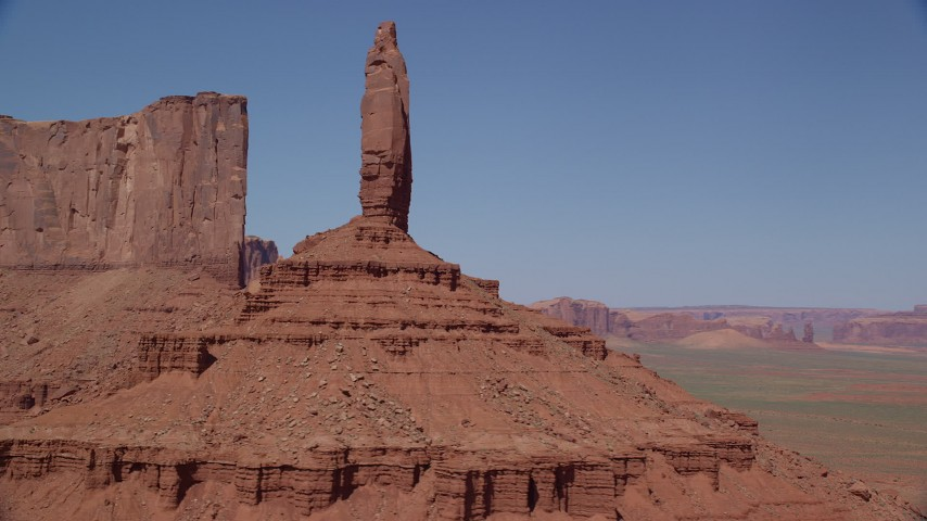 6K stock footage aerial video of flying by Rooster Rock, revealing Meridian Butte, Monument Valley, Utah, Arizona Aerial Stock Footage | AX135_137