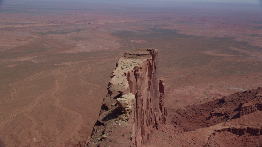 Flying over Meridian Butte, Monument Valley, Utah, Arizona Aerial Stock Footage | AX135_146