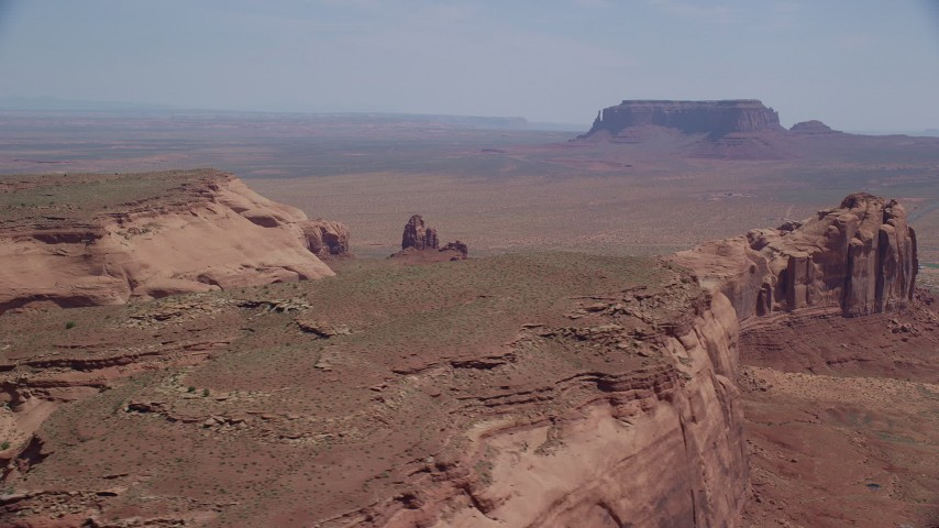 6K stock footage aerial video of Rock Door Mesa at Navajo Nation Reservation, Utah, Arizona Aerial Stock Footage | AX135_198