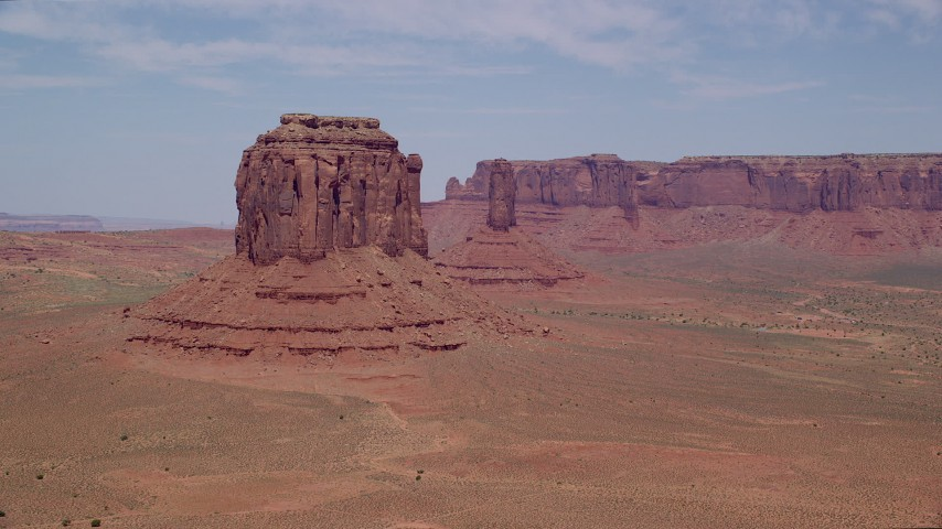 6K stock footage aerial video of Merrick Butte near West Mitten Butte in Monument Valley, Utah, Arizona Aerial Stock Footage | AX136_028