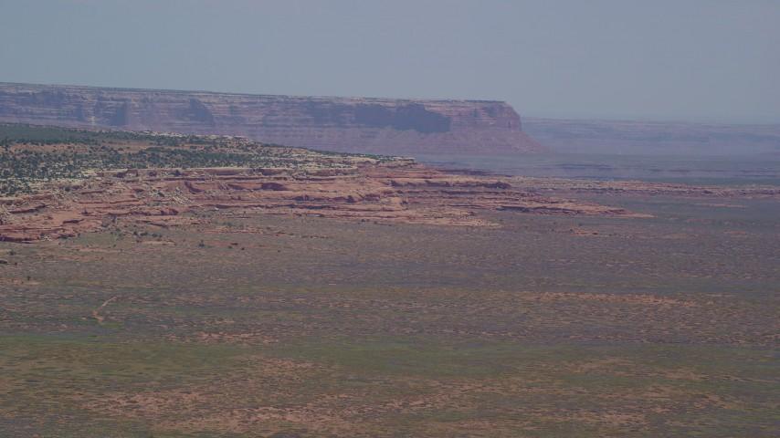 Flying by Douglas Mesa, Navajo Nation Reservation, Utah, Arizona Aerial Stock Footage   AX136_048
