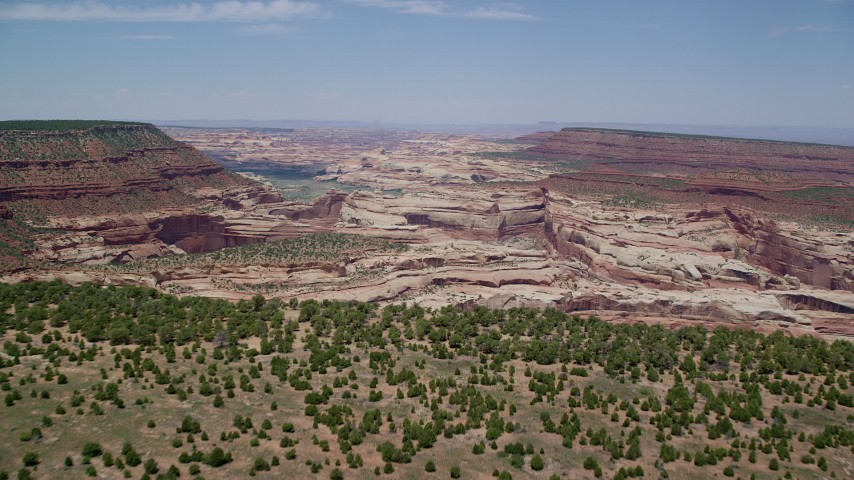 6K stock footage aerial video of approaching numerous canyons near mesas, Canyonlands National Park, Utah Aerial Stock Footage | AX136_199