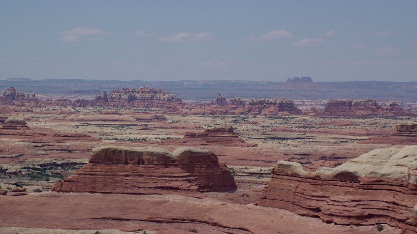 6K stock footage aerial video of flying by rock formations in Canyonlands National Park, Utah Aerial Stock Footage | AX136_220