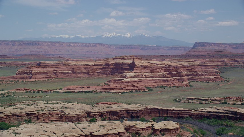 6K stock footage aerial video of a wide view of rock formations, Canyonlands National Park, Utah Aerial Stock Footage | AX136_222