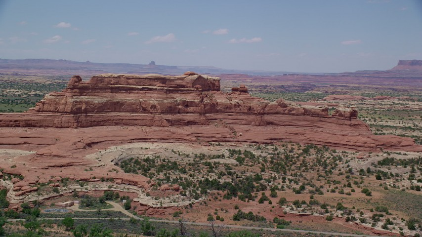 6K stock footage aerial video of passing by Squaw Butte at Canyonlands National Park, Utah Aerial Stock Footage | AX136_225