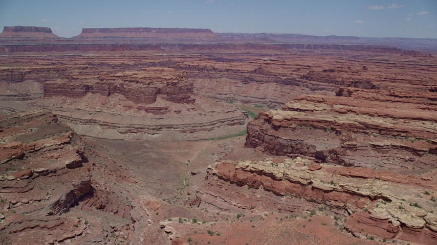 6K stock footage aerial video approach butte, Colorado River, and Meander Canyon, Canyonlands National Park, Utah Aerial Stock Footage | AX136_232