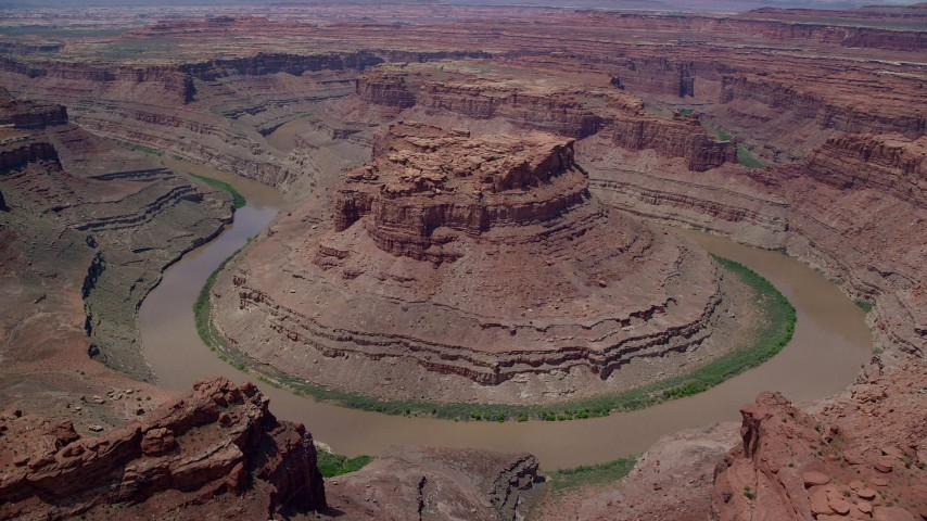 6K stock footage aerial video orbit and fly away from Colorado River through Meander Canyon, Canyonlands National Park, Utah Aerial Stock Footage   AX136_235