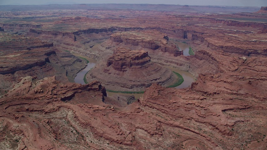 6K stock footage aerial video flyby and approach Colorado River though Meander Canyon, Canyonlands National Park, Utah Aerial Stock Footage | AX136_237