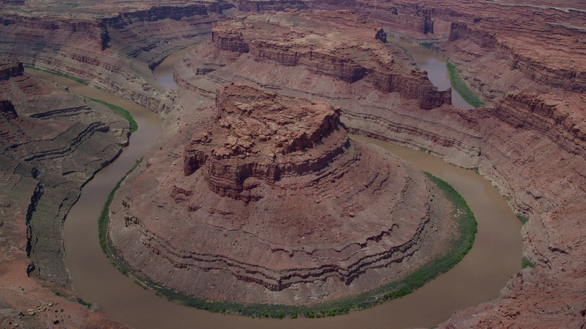 6K stock footage aerial video of flying toward the Colorado River and butte in Meander Canyon, Canyonlands National Park, Utah Aerial Stock Footage | AX136_239