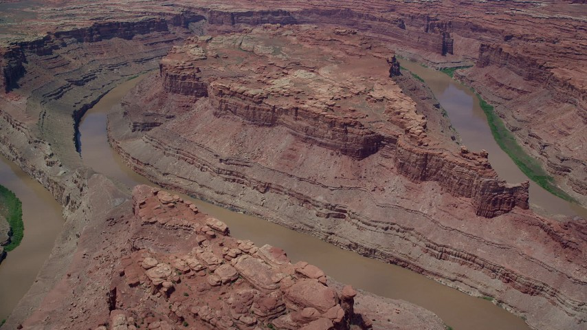 6K stock footage aerial video fly over Colorado River and buttes in Meander Canyon, Canyonlands National Park, Utah Aerial Stock Footage | AX136_240