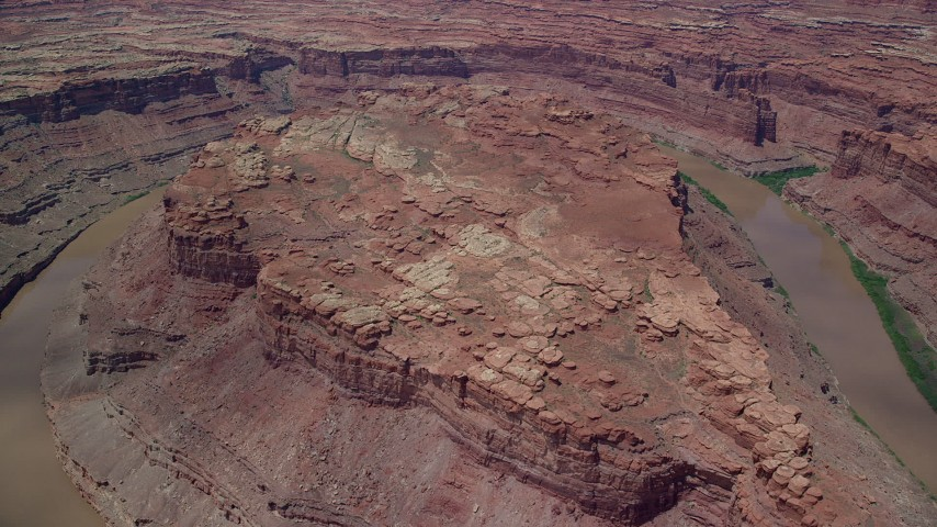 Canyonlands National Park, UT Colorado River Aerial Stock Footage | AX136_241