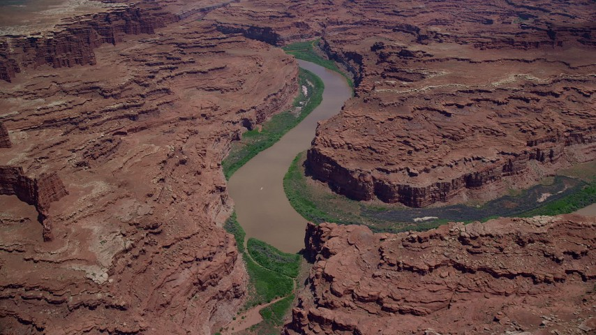 6K stock footage aerial video flyby Colorado River between mesas in Meander Canyon, Canyonlands National Park, Utah Aerial Stock Footage | AX136_251