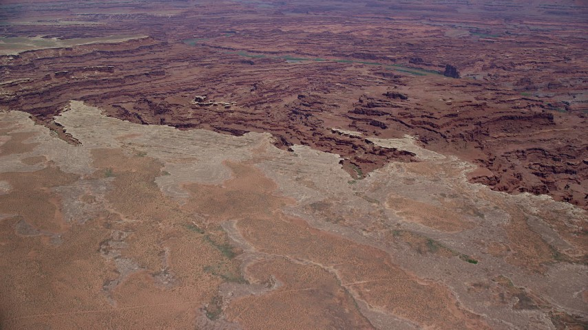 6K stock footage aerial video of approaching canyons and the Colorado River in Canyonlands National Park, Utah Aerial Stock Footage | AX136_254
