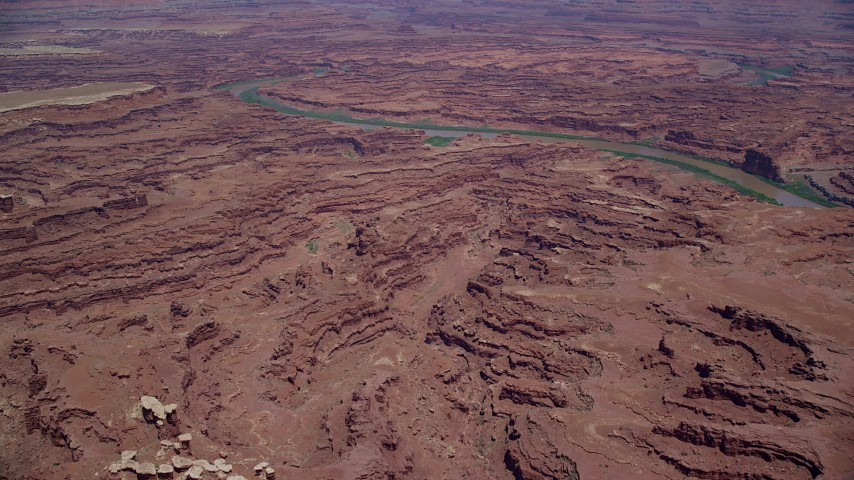 6K stock footage aerial video of approaching Colorado River through Meander Canyon, Canyonlands National Park, Utah Aerial Stock Footage | AX136_256