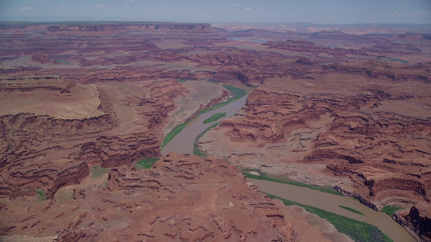 6K stock footage aerial video of flying toward the Colorado River in Meander Canyon, Canyonlands National Park, Utah Aerial Stock Footage | AX136_261