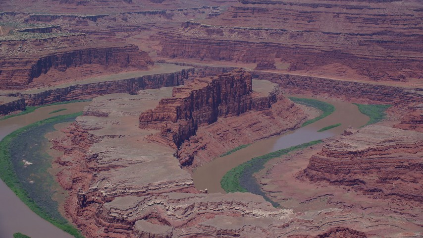 6K stock footage aerial video of the Colorado River and a butte in Goose Neck part of Meander Canyon, Canyonlands National Park, Utah Aerial Stock Footage | AX136_265