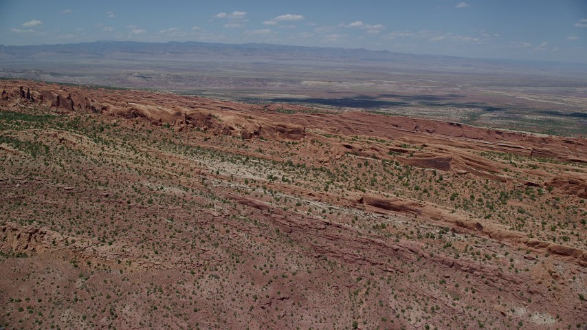 6K stock footage aerial video of approaching rock fins in Devil's Garden at Arches National Park, Utah Aerial Stock Footage | AX137_011