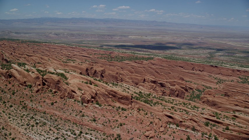 6K stock footage aerial video fly over rock fins in Devil's Garden, Arches National Park, Utah Aerial Stock Footage | AX137_012