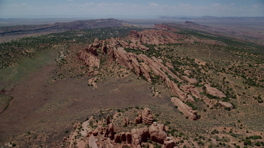 6K stock footage aerial video fly over rock fins in Eagle Park, Arches National Park, Utah Aerial Stock Footage | AX137_023
