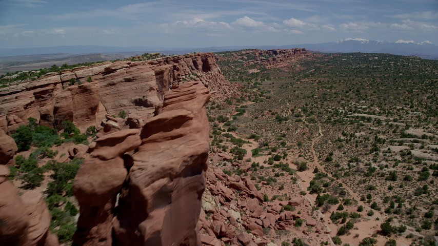 6K stock footage aerial video flyby cliffside rock formations in Eagle Park, Arches National Park, Utah Aerial Stock Footage | AX137_034
