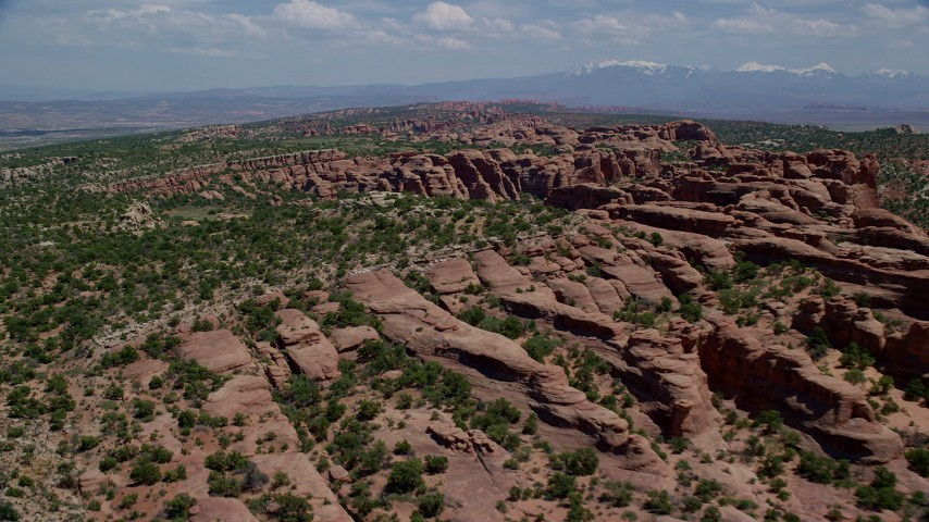 6K aerial stock footage video of green desert plants and rock formations, Eagle Park, Arches National Park, Utah Aerial Stock Footage   AX137_038