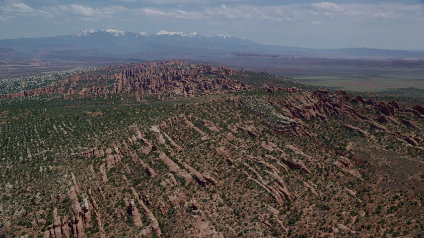 6K stock footage aerial video of Devil's Garden rock fins at Arches National Park, Utah Aerial Stock Footage | AX137_046